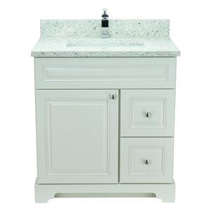 Vanité de salle de bain avec lavabo rectangulaire blanc antique de 36 po Bold Damian de Lukx avec surface en quartz topaze