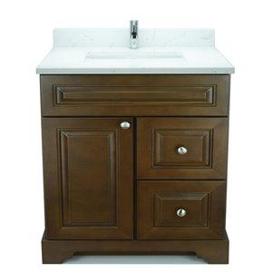 Vanité de salle de bain avec lavabo simple Royalwood de 36 po Bold Damian de Lukx avec surface en quartz couleur Carrera