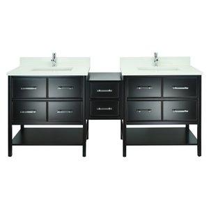 Lukx Bold Gemma 74-in Black Double Sink Bathroom Vanity With Silk White Quartz Top