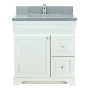 Vanité de salle de bain avec lavabo simple blanc antique de 30 po Bold Damian de Lukx avec surface en quartz gris cristal