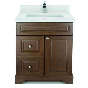 Vanité de salle de bain avec lavabo rectangulaire Royalwood de 36 po Bold Damian de Lukx avec surface en quartz blanc satiné