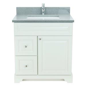 Vanité de salle de bain avec lavabo rectangulaire blanc antique de 30 po Bold Damian de Lukx avec surface en quartz gris crista
