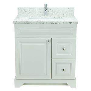 Vanité de salle de bain avec lavabo simple blanc antique de 36 po Bold Damian de Lukx avec surface en quartz couleur Voix lact