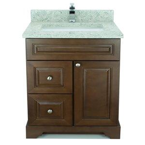 Vanité de salle de bain avec lavabo simple rectangulaire Royalwood de 36 po Bold Damian de Lukx avec surface en quartz topaze