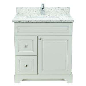 Vanité de salle de bain avec lavabo rectangulaire blanc antique de 36 po Bold Damian de Lukx avec surface Voix lactée