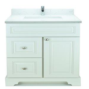 Vanité de salle de bain avec lavabo rectangulaire blanc antique de 36 po Bold Damian de Lukx avec surface Carrera