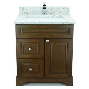 Vanité de salle de bain avec lavabo simple Royalwood de 36 po Bold Damian de Lukx avec surface en quartz couleur Voix lactée