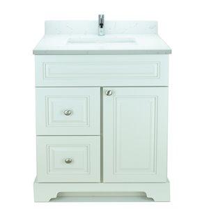 Vanité de salle de bain avec lavabo rectangulaire blanc antique de 30 po Bold Damian de Lukx avec surface Carrera