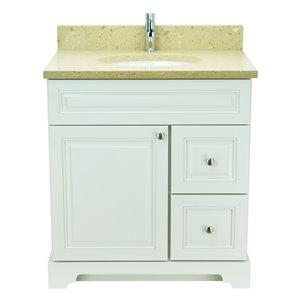 Vanité de salle de bain avec lavabo simple blanc antique de 36 po Bold Damian de Lukx avec surface en quartz brun royal