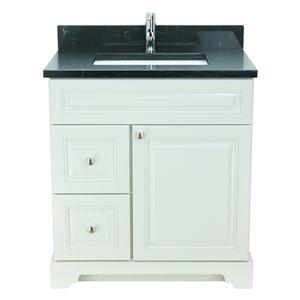 Vanité de salle de bain avec lavabo rectangulaire blanc antique de 30 po Bold Damian de Lukx avec surface noir clair de lune