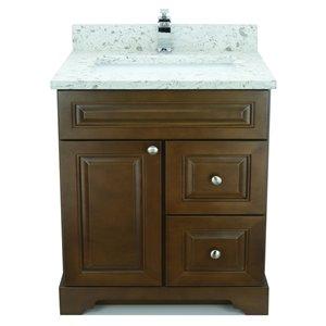 Vanité de salle de bain avec lavabo rectangulaire Royalwood de 36 po Bold Damian de Lukx avec surface Voix lactée
