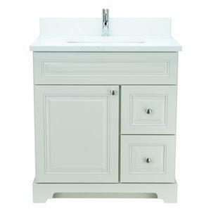 Vanité de salle de bain avec lavabo blanc antique de 30 po Bold Damian de Lukx avec surface en quartz couleur Calcutta classiqu