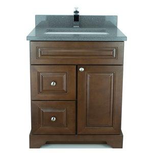 Vanité de salle de bain avec lavabo simple Royalwood de 36 po Bold Damian de Lukx avec surface en quartz gris cristal