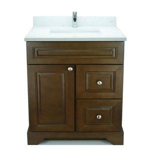 Vanité de salle de bain avec lavabo simple Royalwood de 30 po Bold Damian de Lukx avec surface en quartz couleur Carrera