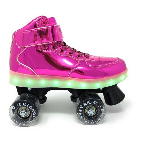 Chicago Skates - Patins à roulettes lumineux à DEL, Rose, taille 5