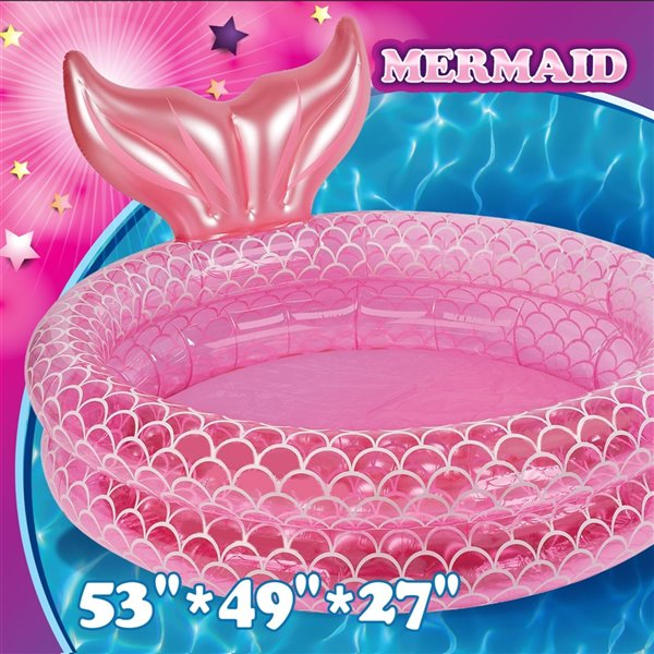 Splash Buddies 53-in L x 27-in W Pink Oval Kiddie Pool