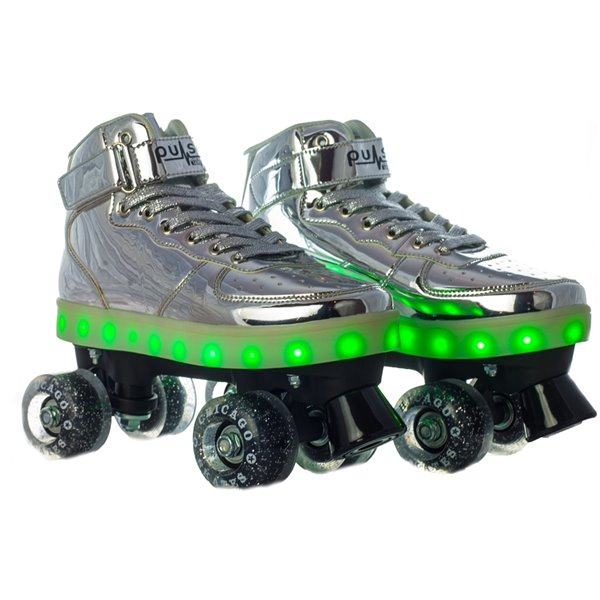 Chicago Skates - Patins à roulettes lumineux à DEL, argent, taille 1