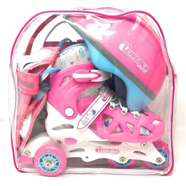 Chicago Skates Adjustable Pink Rollerblade Combo Set, Size J10-J13