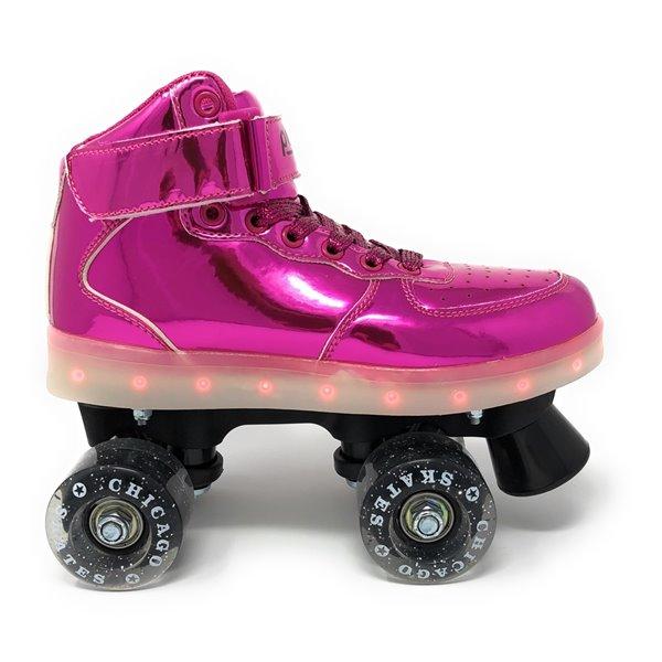 Chicago Skates - Patins à roulettes lumineux à DEL, Rose, taille 4