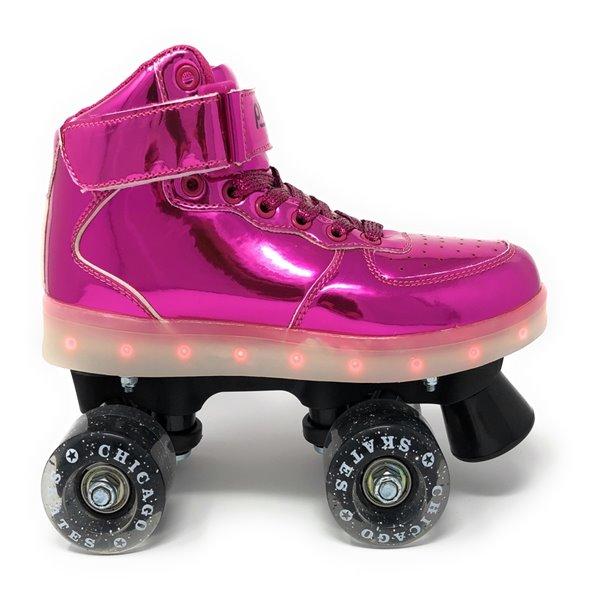 Chicago Skates - Patins à roulettes lumineux à DEL, Rose, taille 3