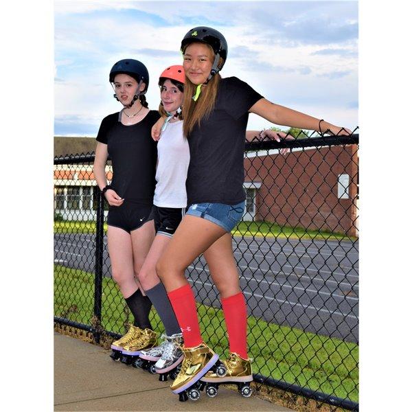 Chicago Skates - Patins à roulettes lumineux à DEL, argent, taille J13