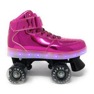 Chicago Skates - Patins à roulettes lumineux à DEL, Rose, taille J13