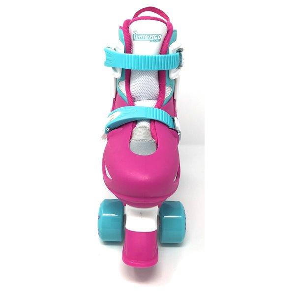 Chicago Skates – Patins à roulettes rose ajustables pour filles, taille J10-J13