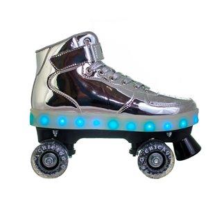 Chicago Skates - Patins à roulettes lumineux à DEL, argent, taille 4