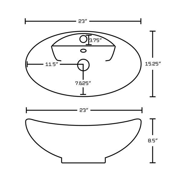 Vasque ovale de 15,25 po x 23 po en céramique blanche avec robinet et drain avec trop-plein par American Imaginations