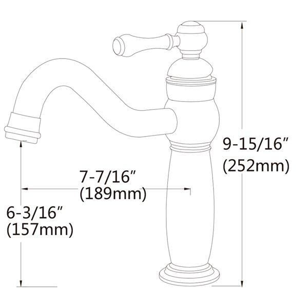 Vasque de 12,2 po x 16,34 po en céramique blanche avec robinet en nickel et drain avec trop-plein par American Imaginations