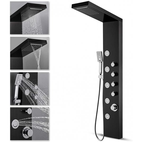 Panneau de douche avec système à 7 jets en acier inoxydable noir par American Imaginations