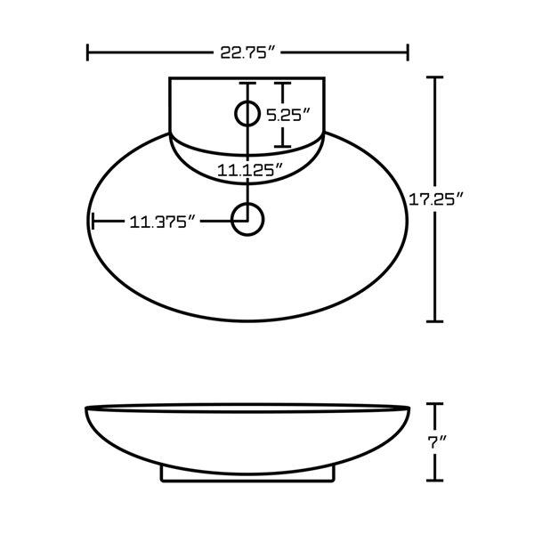 Vasque ovale en céramique blanche de 17,25 po x 22,75 po avec robinet et drain avec trop-plein par American Imaginations