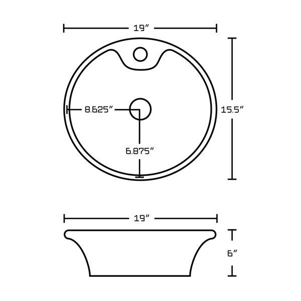 Vasque ronde en céramique blanche de 15,5 po x 19 po avec robinet et drain avec trop-plein d'American Imaginations