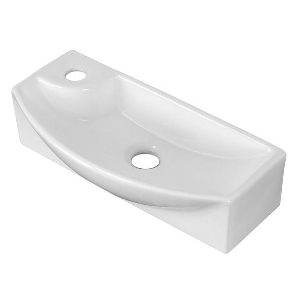 Vasque de 8,75 po x 17,75 po en céramique blanche avec robinet en chrome brossé avec drain par American Imaginations