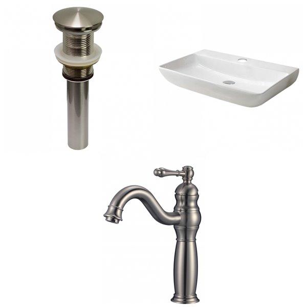 Vasque en céramique blanche de 18,3 po x 28 po avec robinet en nickel brossé et drain avec trop-plein d'American Imaginations