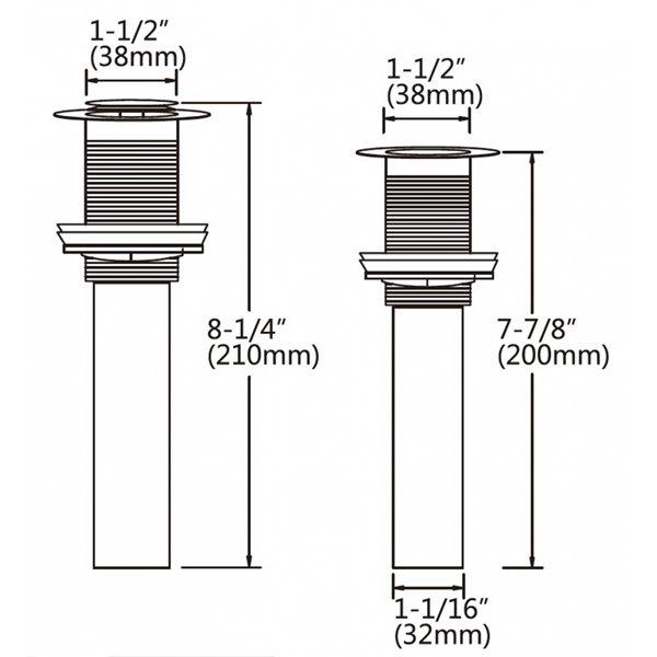 Robinet de salle de bain Cheer espacé à 2 poignées en chrome, drain inclus, par American Imaginations