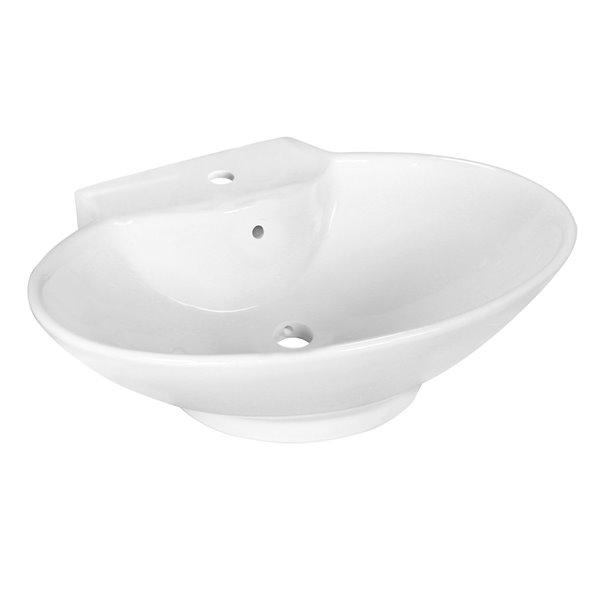 Vasque ovale en céramique de 17,25 po x 22,75 po avec robinet en chrome brossé et drain avec trop-plein d'American Imagination