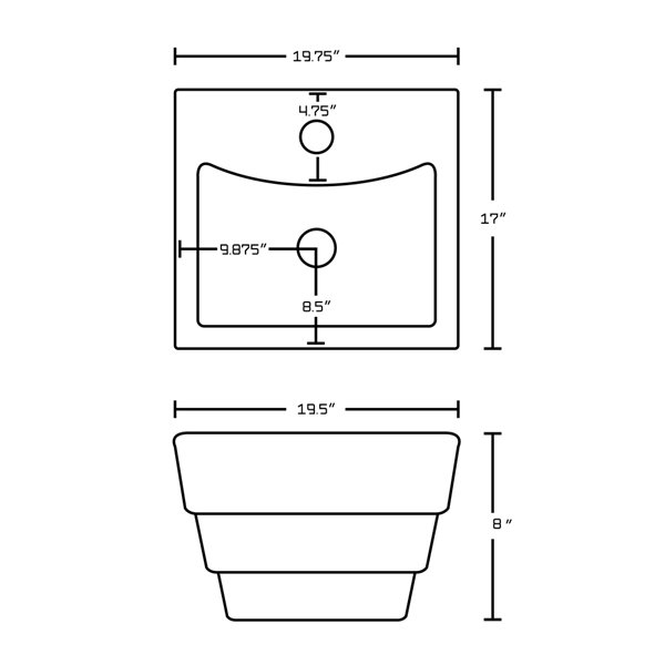 Vasque rectangulaire en céramique blanche de 17 po x 19,75 po avec robinet et drain avec trop-plein par American Imaginations