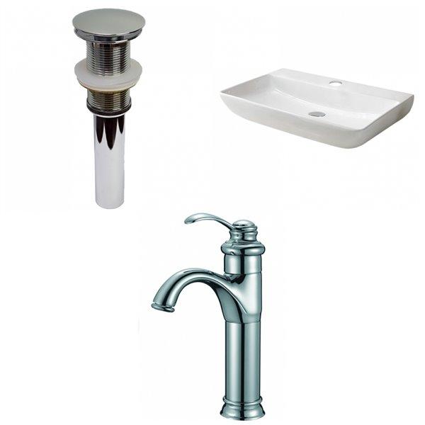 Vasque en céramique blanche de 18,3 po x 28 po avec robinet en chrome brossé et drain par American Imaginations