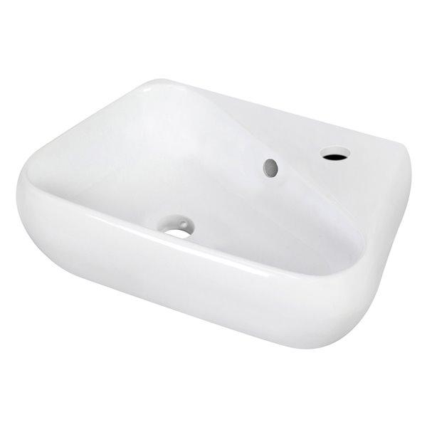 Vasque irrégulière de 11 po x 17,5 po en céramique blanche avec robinet et drain avec trop-plein par American Imaginations