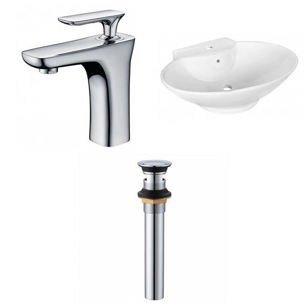 Vasque de 17,25 po x 22,75 po en céramique blanche avec robinet et drain avec trop-plein par American Imaginations