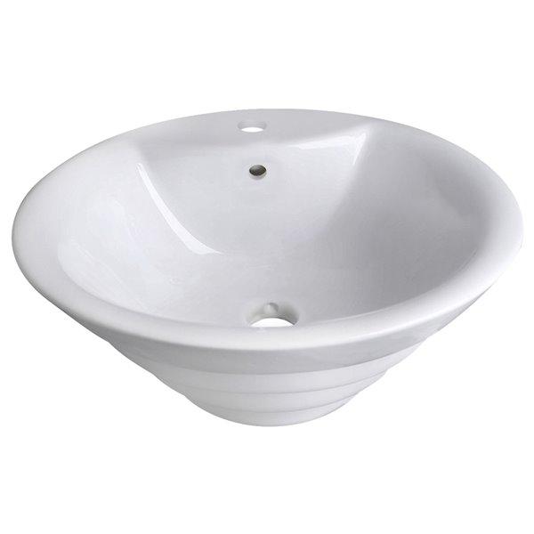 Vasque ronde en céramique blanche de 19,25 po avec robinet en chrome brossé et drain avec trop plein par American Imaginations