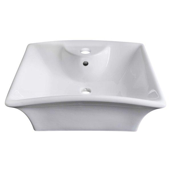 Vasque en céramique blanche de 16,25 po x 19,5 po avec robinet en chrome et drain avec trop plein par American Imaginations