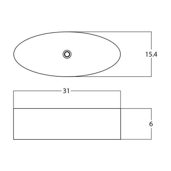 Vasque ovale de 15,4 po x 31 po en céramique blanche avec robinet et drain noirs par American Imaginations