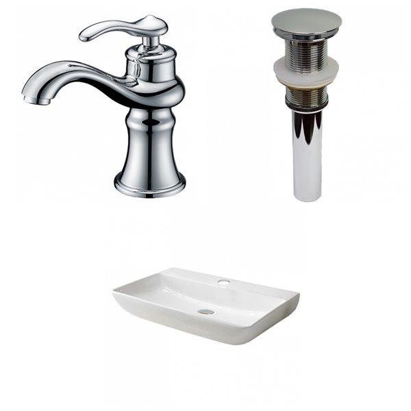 Vasque en céramique blanche de 18,3 po x 28 po avec robinet en chrome brossé et drain d'American Imaginations