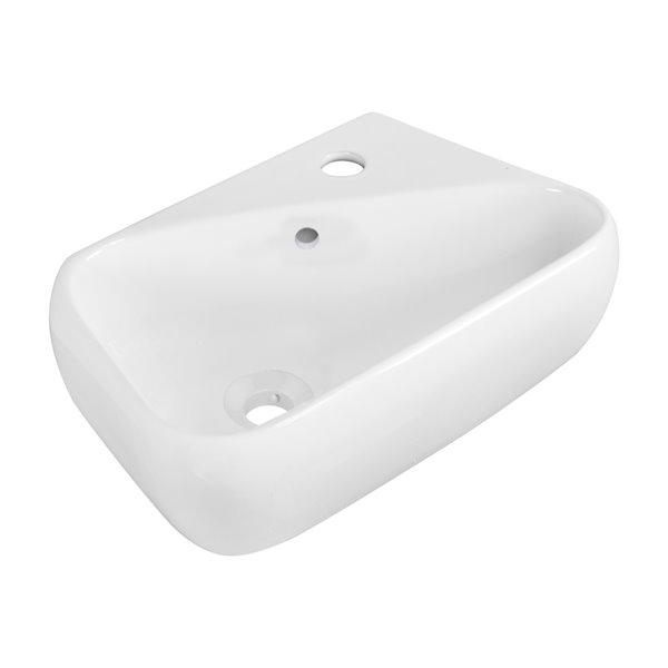 Vasque en céramique blanche de 11-in x 17,1 po x 17,5 po avec robinet et drain avec trop-plein par American Imaginations