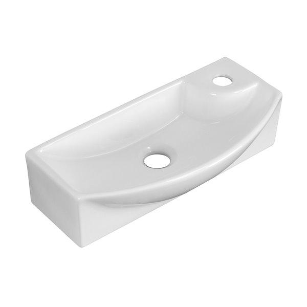 Vasque en céramique blanche de 8,75 po x 17,75 po avec robinet en chrome brossé et drain d'American Imaginations