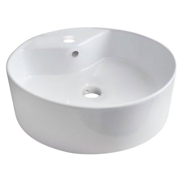 Vasque ronde en céramique blanche de 18,25 po avec robinet et drain avec trop-plein en chrome brossé d'American Imaginations
