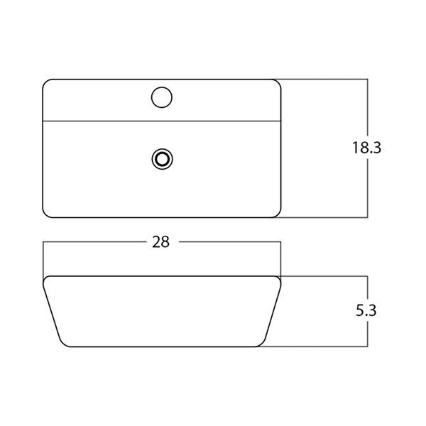 Vasque rectangulaire en céramique blanche de 18,3 po x 28 po avec robinet et drain noirs par American Imaginations