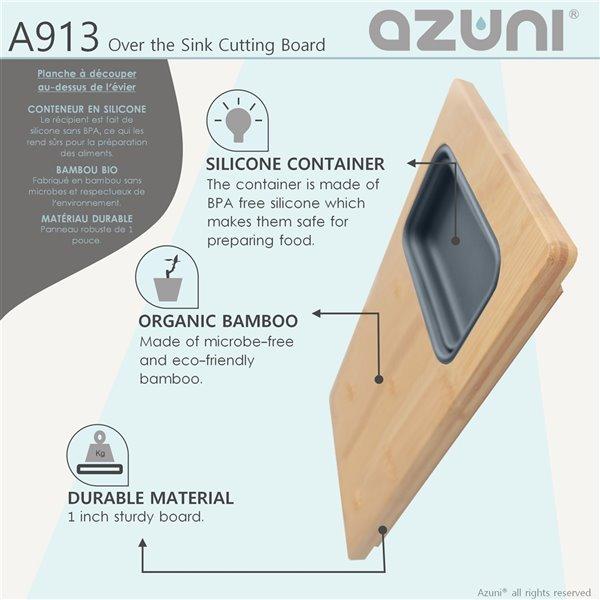Planche à découper Azuni pour évier, en Bamboo, 18 po l. x 8.6 po L. (1 contenant inclus)